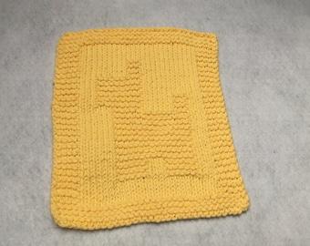 "1 ""Dog"" Hand Knit Face Cloth /  Dish Cloth / Wash Cloth - 100% Cotton - Yellow"