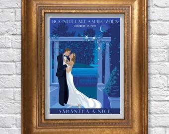 Custom Wedding Poster Estate or Lake Wedding, Personalized bride and groom, wedding gift, Vintage Bridal gift, Anniversary Gift