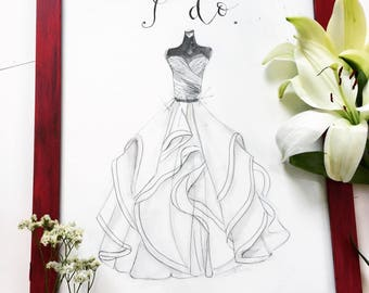 9b62d89f100 Wedding Dress sketch watercolor hand painted from photo
