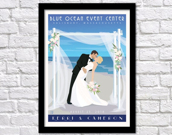 Personalized Wedding On The Beach Poster Personalized Bride Etsy