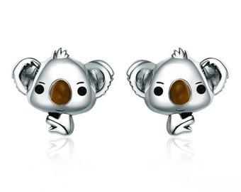 Cute Koala Sterling Silver Stud Earrings, Koala Earrings, Koala Jewelry, Silver Koala, Koala Gift, Koala Bear, Koala Lover, Girl Gift