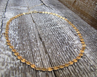 14K Gold Filled Disc Chain Choker Necklace / Gold Filled Flat Circle Link Chain Necklace / Layering Necklace