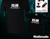 Player 1 Player 2 Video Game Matching Shirts / Matching Dad and Baby Shirts / Gamer / Nintendo / PS4