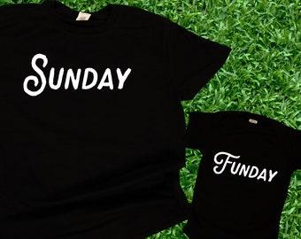 Sunday Funday / Sunday Football Matching Shirts/ Dad and baby tshirts / Couples Shirts / Sports Shirts / Game Shirts, Fathers Day gift