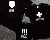 Tank Support Damage Family Matching Shirts / Overwatch Inspired / FPS Family Matching Shirts / Matching Dad Mom and Baby / Gift for Gamer