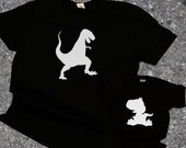 Dad & Baby Matching Shirts, Dinosaur Matching Shirts- T-rex and Baby Dino, T-shirt and jumper for Dad and Baby Toddler, Father's Day Gift