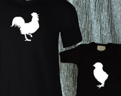 Dad & Baby Matching Shirts / Rooster and Chick /Chicken Matching Family shirts for Dad and Baby