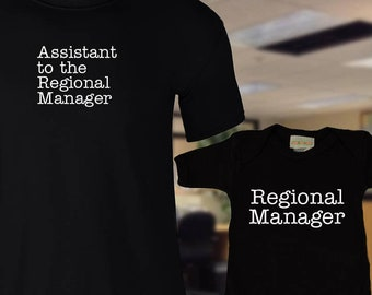 Dad & Baby Matching Shirts, Regional Manager, Assistant to the Regional Manager, The Office, Big Little Shirts, Father's Day, Christmas Gift
