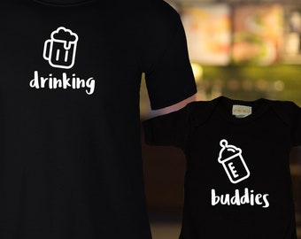 Dad & Baby Matching Shirts, Drinking Buddies Matching Family Shirt Set, Beer and Baby Bottle shirts, Fathers Day Gift, Newborn gift