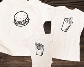 Burger and Fries Matching Family Shirts, Cheeseburger Fries and Drink Combo, Dad Mom & Baby Matching Shirts / Father's Day and Newborn gift