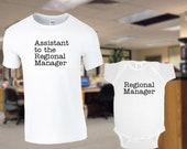 Regional Manager / Assistant to the Regional Manager / The Office/ Dad & Baby Matching Shirts / White shirt and jumper for Dad Mom and Baby