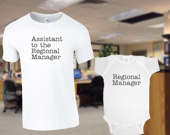 f79eca872 Regional Manager / Assistant to the Regional Manager / The Office/ Dad &  Baby Matching Shirts / White shirt and jumper for Dad Mom and Baby