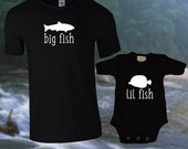Big Fish Lil Fish Matching T shirts / Dad & Baby Matching Shirts. / T-shirt and jumper for Dad and Baby / Father's Day