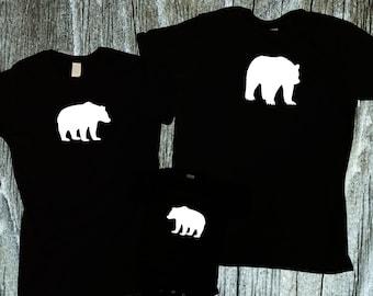 Bear Family Matching Shirts, Dad & Baby and mom matching shirts, papa bear family shirts for newborn, sibling shirts or family gift