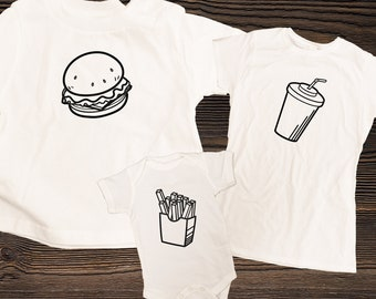 Burger and Fries Matching Family Shirts, Cheeseburger Fries and Drink Combo, Dad Mom & Baby Matching Shirts, Newborn gift, Fathers Day