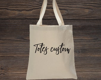 Custom Canvas Tote Bag / Natural Canvas Personalized Shopping bag / Personalized tote