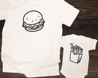 Burger and Fries Matching Family Shirts, Cheeseburger Fries  Combo, Dad or Mom & Baby Matching Shirts / Father's Day or Christmas Gift