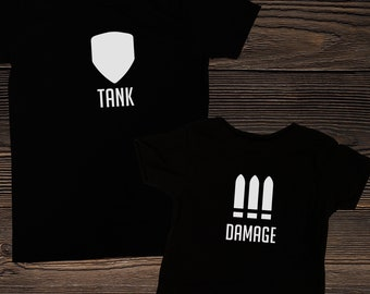 Tank Support or Damage Couples Matching Shirts, Overwatch, FPS Family Matching Shirts, Matching Dad Mom and Baby, Gift for Gamer Dad
