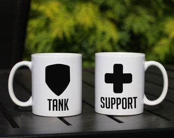 Video Game Matching Mugs for gamers, Tank, Damage and Support, pick 2, MOBA FPS themed matching mugs, Matching Coffee Mugs, Coffee Cup Set