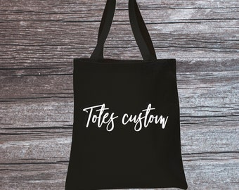 Custom Canvas Tote Bag / Black Personalized Shopping bag / Personalized tote