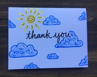 Thank You Greeting Card |  Sun and Cloud Greeting Card | Thank You Note