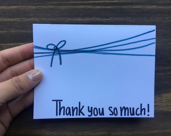 Thank You So Much Greeting Card |  Ribbon Greeting Card | Thank You Note