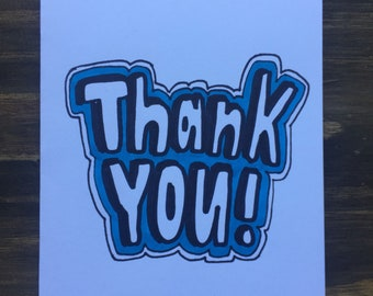 Thank You Greeting Card |  Cartoon Greeting Card | Thank You Note
