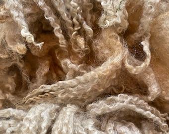 1oz hand dyed bfl fleece locks curls spinning felting wool landscape green 30g