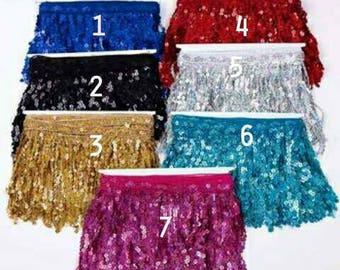 2318af1a 5 Yards 15CM Gold Black Silver Pink Red Blue Laser sequined Fringe trimming  lace For Latin Dance Dress,sequin Fringe trims