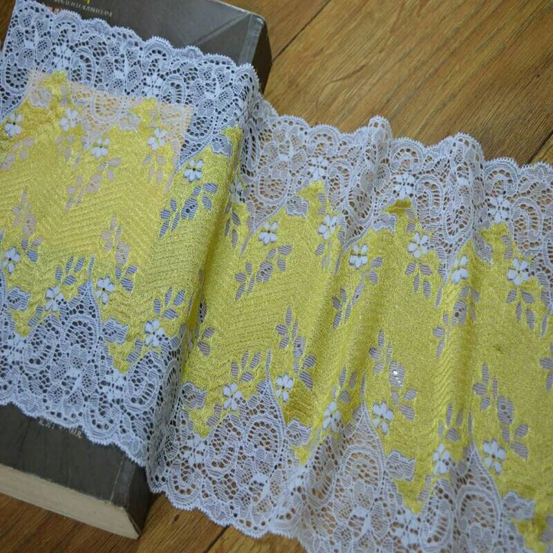 2Yards 19cm fleur blanc jaune dentelle Floral dentelle Stretch galon dentelle jaune Stretch élastique ceinture de mariée coiffure vêtement élastique poupée garniture dentelle 4b0478