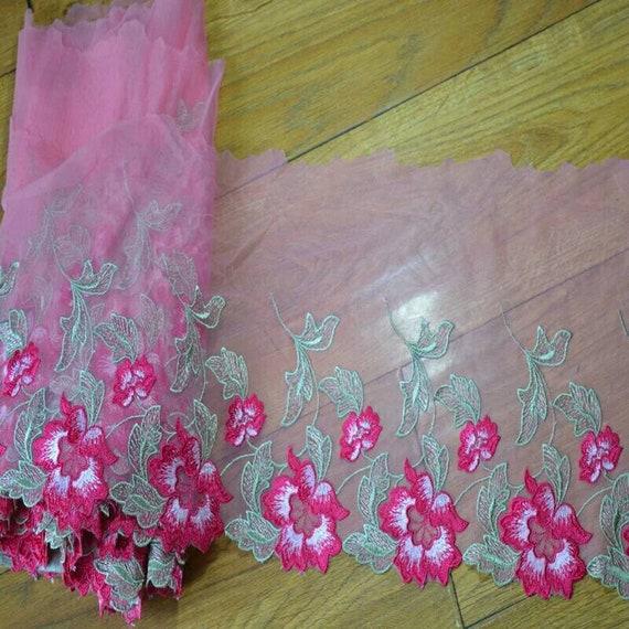 2Yds 27cm verte feuille verte 27cm rose fleur maille large dentelle tissu Venise Venise tissu Floral broderie dentelle vêtements Barbie Doll robe dentelle fa81bf