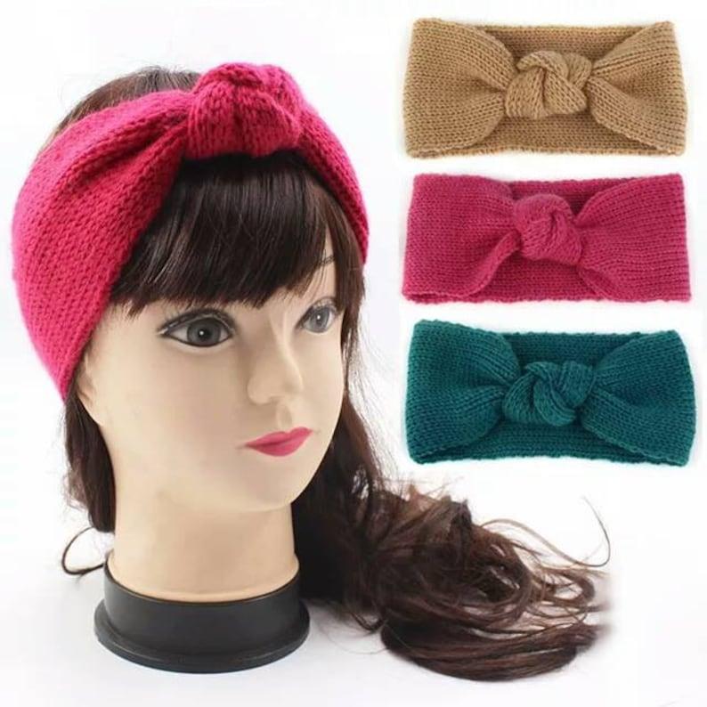 e5a94014c59 Wool Knitted Headband Winter Ear Warmer Women Knot Turban
