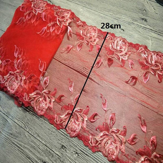 2Yds 28CM 28CM 2Yds maille Floral bleu rouge dentelle Venise Venise fleur tissu broderie dentelle vêtements Barbie Doll robe dentelle décorative garniture de tissu cdc8c4