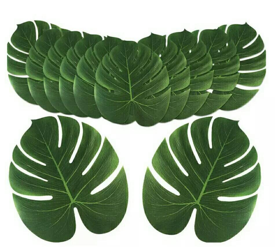 24pcs artificiels palmiers palmiers palmiers tropicaux feuilles feuille de Simulation pour les décorations de fête thème plage hawaïenne fête Jungle e99b13