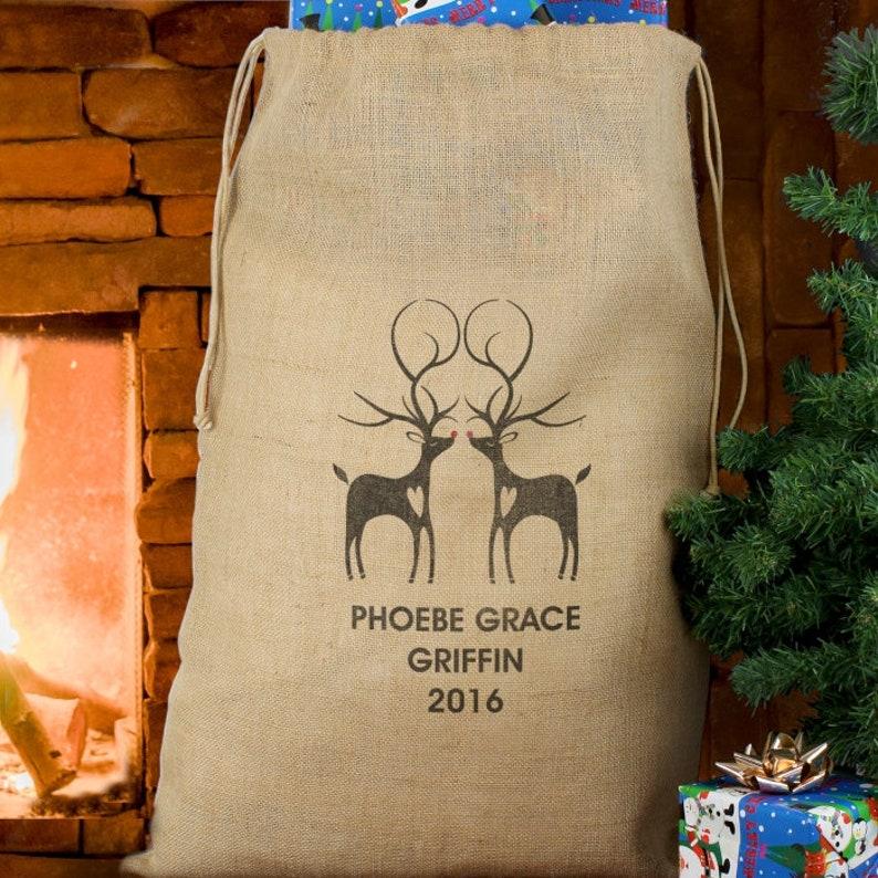 Personalised Reindeer Couple Hessian Sack Christmas Stocking Sack