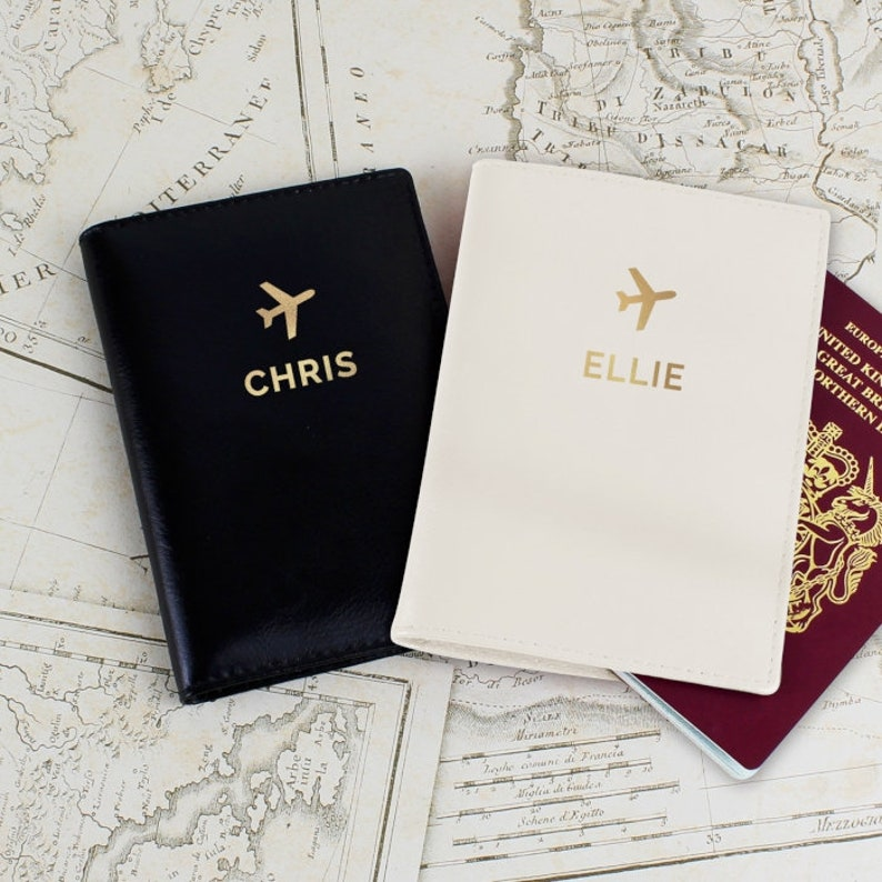 Personalised Gold Name Passport Holders Set image 0