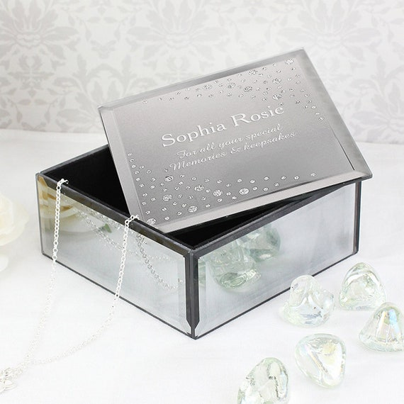 Personalised Big Age Swirls /& Hearts Diamante Glass Trinket Box