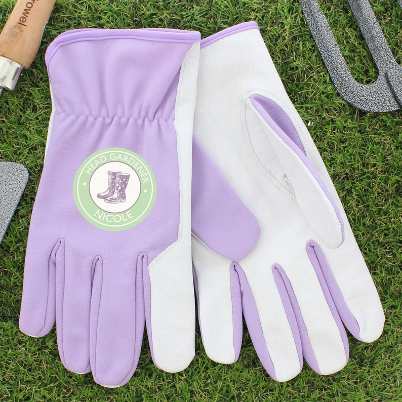 Personalised Ladies Gardening Gloves For Her Durable Lightweight Leather Nylon