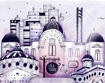 """Art print """"Midnight in Bucharest"""""""