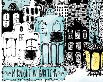 "Art print ""Midnight in Barcelona"""