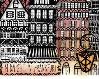 """Art print """"Midnight in Frankfurt"""""""
