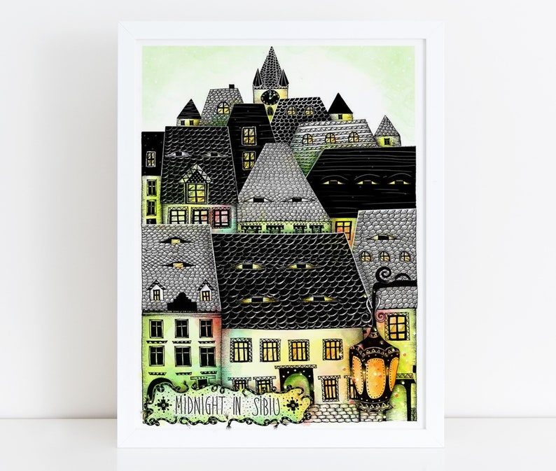 SIBIU Illustration / Drawing / Print / Poster / Fine Art Print image 0