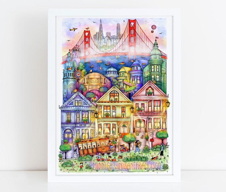SAN FRANCISCO Wall Art Illustration Drawing Print Art image 0