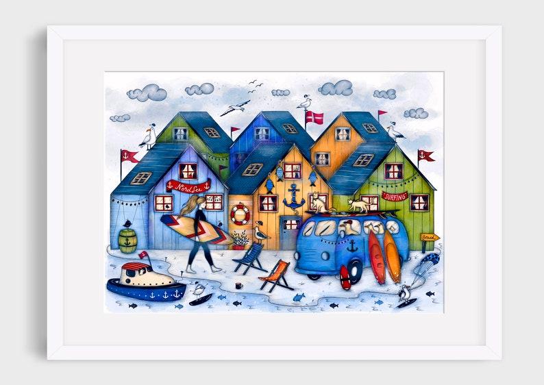 DENMARK SURFING Illustration / Drawing / Print / Poster / Fine image 0