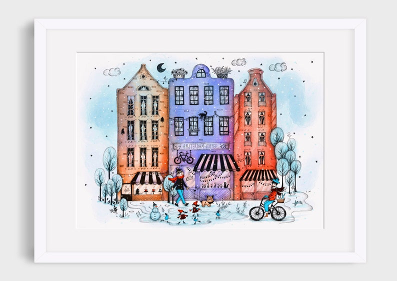AMSTERDAM IN WINTER Illustration / Drawing / Print / Poster / image 0