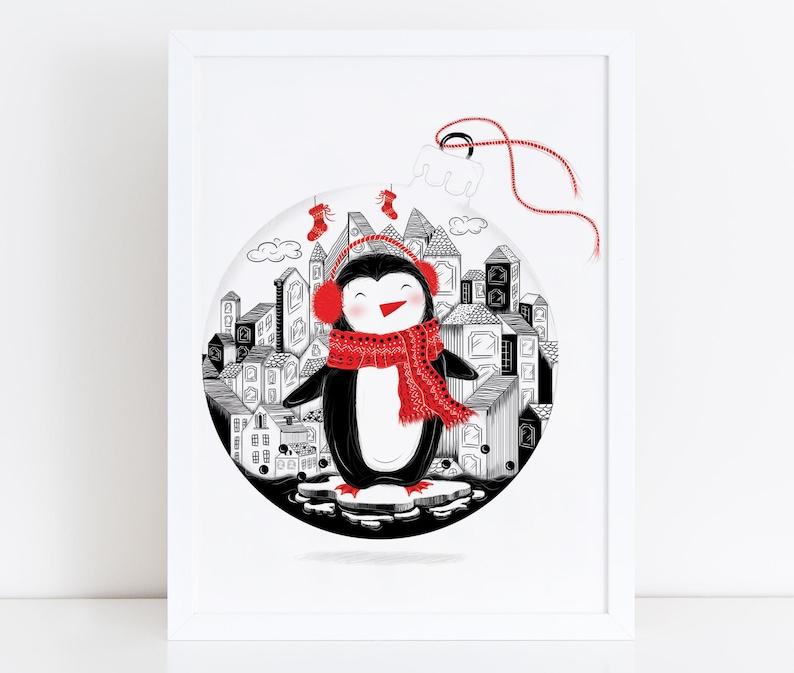 CHRISTMAS PENGUIN Illustration / Drawing / Print / Poster / image 0