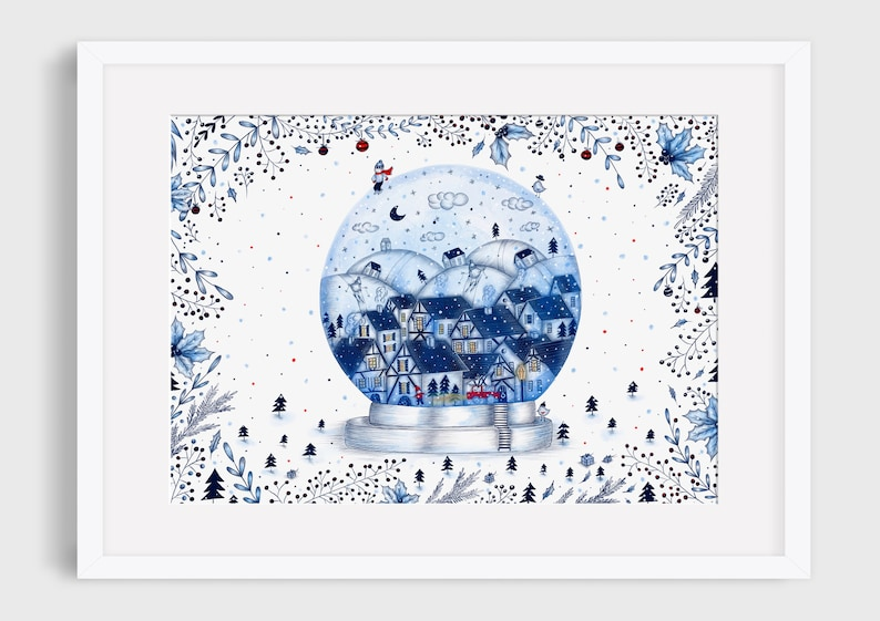 CHRISTMAS WINTER MAGIC Illustration / Drawing / Print / Poster A3 (29.7x42)