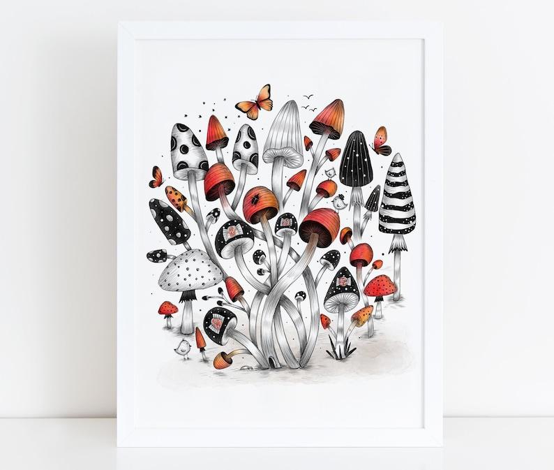 MUSHROOM WORLD Illustration / Drawing / Print / Poster / Fine image 0