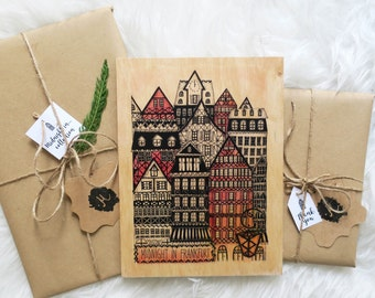 """Wood print """"Midnight in Frankfurt"""""""