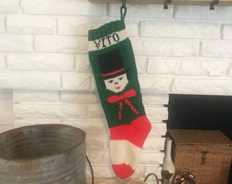 Hand Knit Christmas Stocking - Top Hat Man